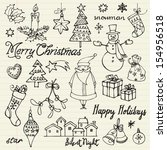 assorted christmas icons doodle ... | Shutterstock .eps vector #154956518