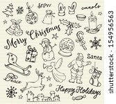 assorted christmas icons doodle ... | Shutterstock .eps vector #154956563