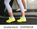women and men feet on treadmill ... | Shutterstock . vector #154958528