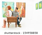 two caucasian people sitting on ... | Shutterstock . vector #154958858