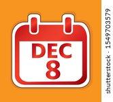 december 8 calendar day vector...