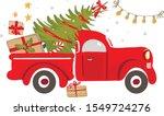 christmas truck. vintage vector ... | Shutterstock .eps vector #1549724276