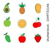 set of colorful cartoon fruit... | Shutterstock .eps vector #1549731146