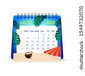 July 2020 Calendar Illustration....