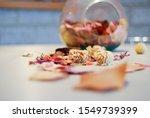 Pot Pourri  Dried Flowers Glass