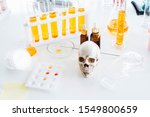 Small photo of Noxious additives in cosmetics and medicine. Equipment and science experiments, Formulating the chemical for cosmetic and medicine laboratory research and development.