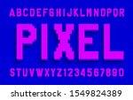 pixel alphabet font. digital 3d ... | Shutterstock .eps vector #1549824389