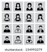 vector black people icons set... | Shutterstock .eps vector #154993379