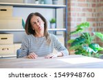Middle Age Senior Woman Sitting ...