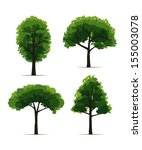 set of trees on white... | Shutterstock .eps vector #155003078