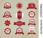 set of christmas stickers | Shutterstock .eps vector #155005886