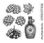 set of ink sketches. waffles... | Shutterstock .eps vector #1550157326