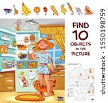 find 10 objects in the picture. ... | Shutterstock .eps vector #1550198759