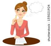 beautiful secretary thinking... | Shutterstock .eps vector #155021924