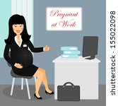 pregnant business woman at work ... | Shutterstock .eps vector #155022098