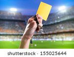 hand of referee with yellow... | Shutterstock . vector #155025644