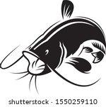 graphic black catfish on white...