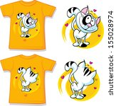 kid shirt with cute cat printed ... | Shutterstock .eps vector #155028974