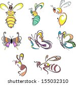 stylized insects   bees  wasps...