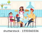 family with children sitting at ... | Shutterstock .eps vector #1550360336