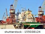 riga shipyard with a cargo ship ...   Shutterstock . vector #155038124