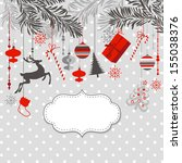 christmas background in grey ... | Shutterstock .eps vector #155038376