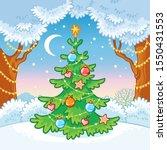 elegant christmas tree standing ... | Shutterstock .eps vector #1550431553