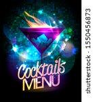 cocktails menu shiny poster...   Shutterstock . vector #1550456873