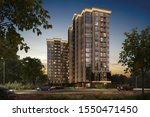 3D illustration modern residential complex, luxury apartments, 3d rendering, 300 dpi - stock photo