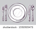 sketch plate fork and knife.... | Shutterstock .eps vector #1550505473