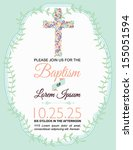 Baptism Card Design on Green Background