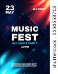 music fest poster template with ... | Shutterstock .eps vector #1550553713