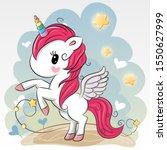 cute cartoon unicorn on a blue... | Shutterstock . vector #1550627999