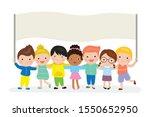 cute cartoon children holding...   Shutterstock .eps vector #1550652950