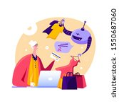 old lady shopping online with... | Shutterstock .eps vector #1550687060