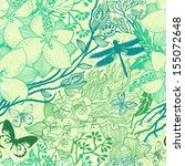 vector floral  seamless pattern ... | Shutterstock .eps vector #155072648
