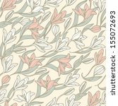 vector floral  seamless pattern ... | Shutterstock .eps vector #155072693