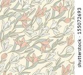 vector floral  seamless pattern ... | Shutterstock .eps vector #155072693