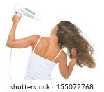 Young Woman Blow Dry . Rear View