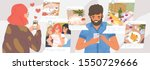 girl and guy browse social... | Shutterstock .eps vector #1550729666