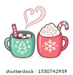 two christmas drink cups  hot... | Shutterstock .eps vector #1550742959