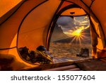 sunrise inside a tent | Shutterstock . vector #155077604