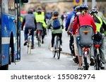 Bikes in crowd - stock photo