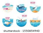 plastic pollution in ocean flat ... | Shutterstock .eps vector #1550854940