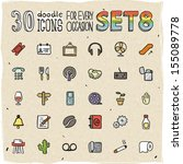 30 colorful doodle icons set 8 | Shutterstock .eps vector #155089778