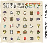 30 colorful doodle icons set 7 | Shutterstock .eps vector #155089790