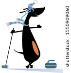 smiling dog plays curling... | Shutterstock .eps vector #1550909060