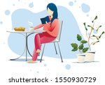 girl reading book at the table... | Shutterstock .eps vector #1550930729