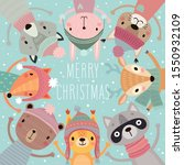 christmas card with cute forest ... | Shutterstock .eps vector #1550932109