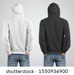 back view mockup hoodie...   Shutterstock . vector #1550936900